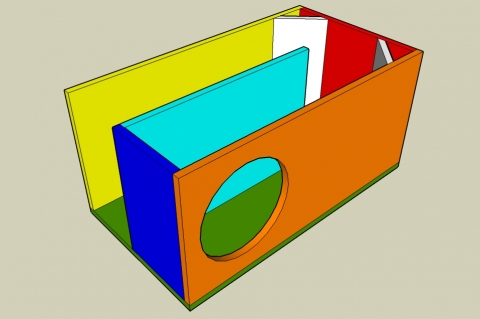 Single Fold Off-Axis Transmission Line Enclosure Calculator - Angled View
