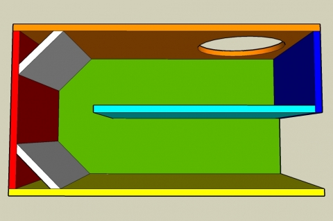 Single Fold Off-Axis Transmission Line Enclosure Calculator - Layout View