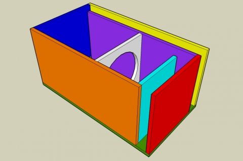 Off-Axis 6th Order Parallel Bandpass Enclosure Calculator - Angled View