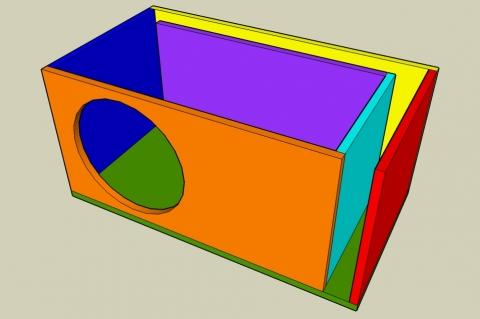 L-Slot Vent Bass Reflex Enclosure Calculator - Angled View