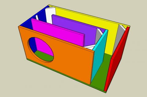 Dual Fold On-Axis Transmission Line Enclosure Calculator - Angled View