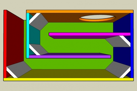 Dual Fold On-Axis Transmission Line Enclosure Calculator - Layout View
